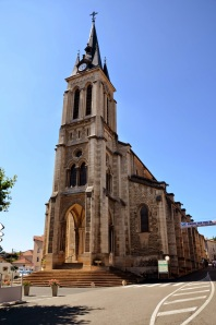 Church in Fleurie, Beaujolais town square